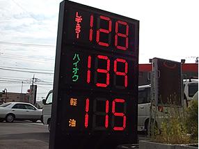 ガソリンスタンド 看板 値段